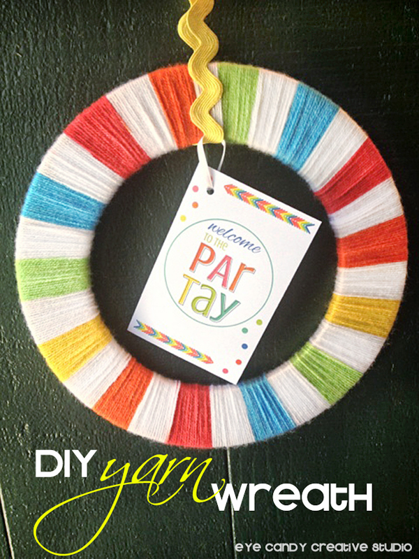 yarn wrapped wreath, how to make a yarn wreath, rainbow party decor