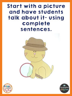 using a picture to practice speaking in complete sentences
