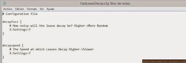 Configuración del Mod Fast Leave Decay para Minecraft 1.8/1.8.8