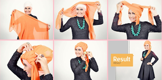 Tutorial Hijab Turban Segi Empat Modern Gaya #2 Side Turban