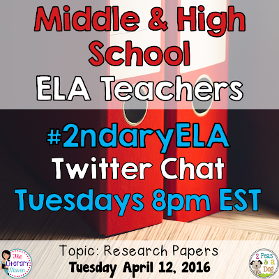 Join secondary English Language Arts teachers Tuesday evenings at 8 pm EST on Twitter. This week's chat will focus on research papers.