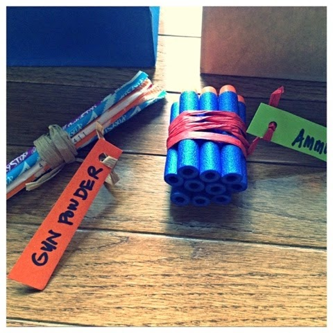 Cut Out The Targets And Arranged Them On Gift Bags Table Also Included A Bundle Of Ammo Gunpowder Pixi Stix Candy