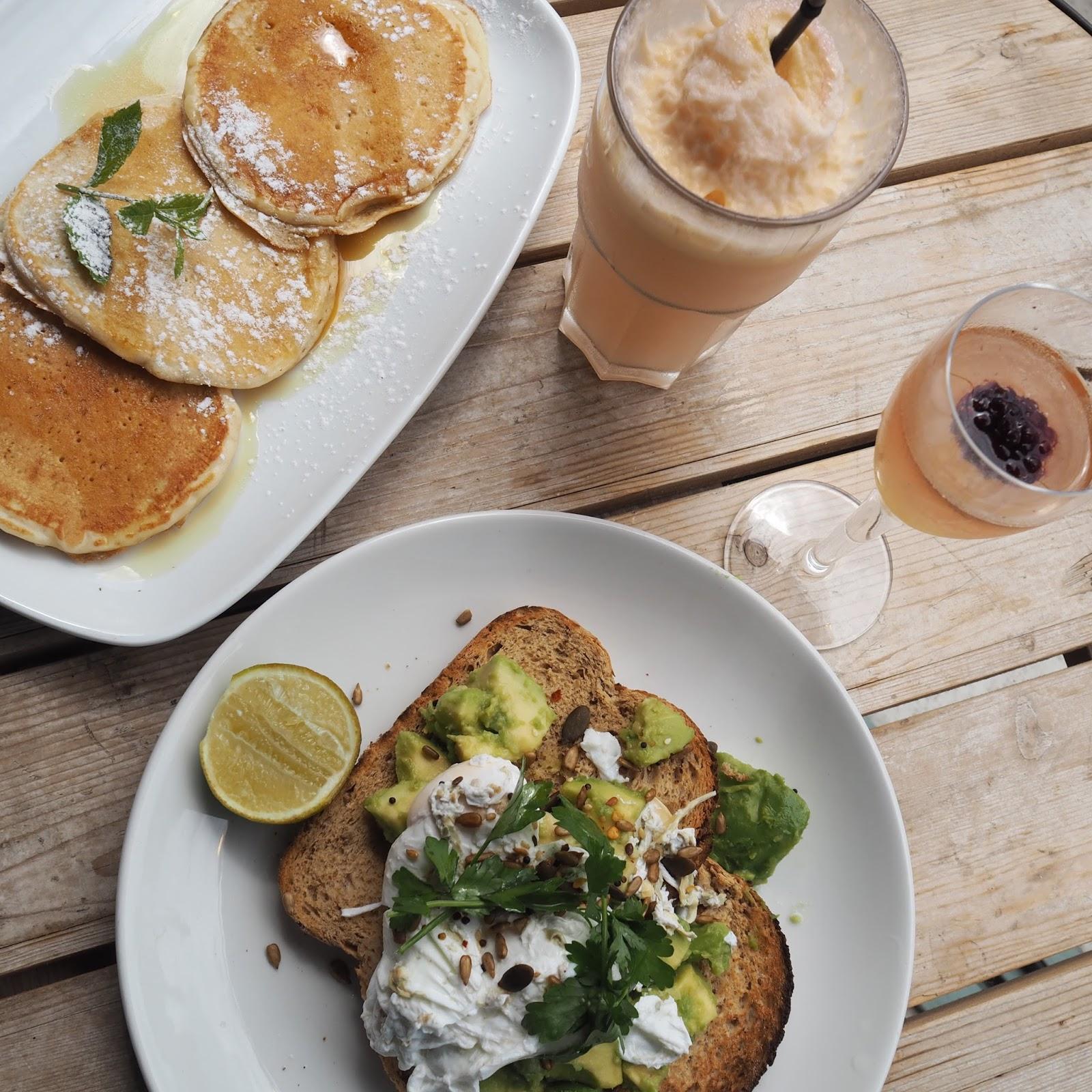 Pancakes, avocado on toast, Bills restaurant Brighton