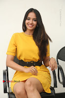 Actress Poojitha Stills in Yellow Short Dress at Darshakudu Movie Teaser Launch .COM 0218.JPG