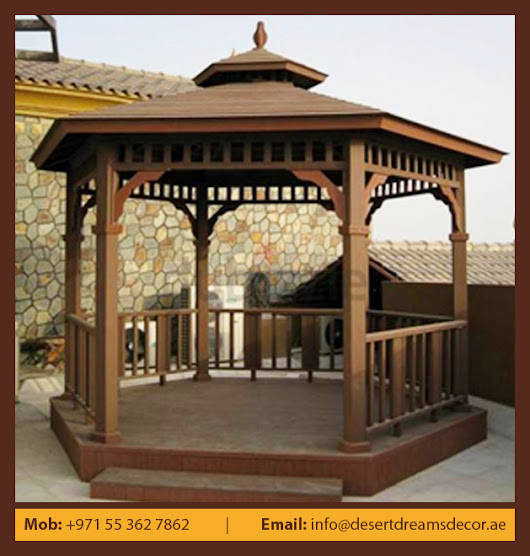 GARDEN WOODEN GAZEBO IN UAE.