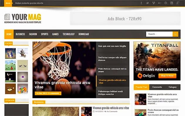 Your Mag Blogger template- Seo frindly responsive blogger templates for magazine blog, news, sports and portfolio websites