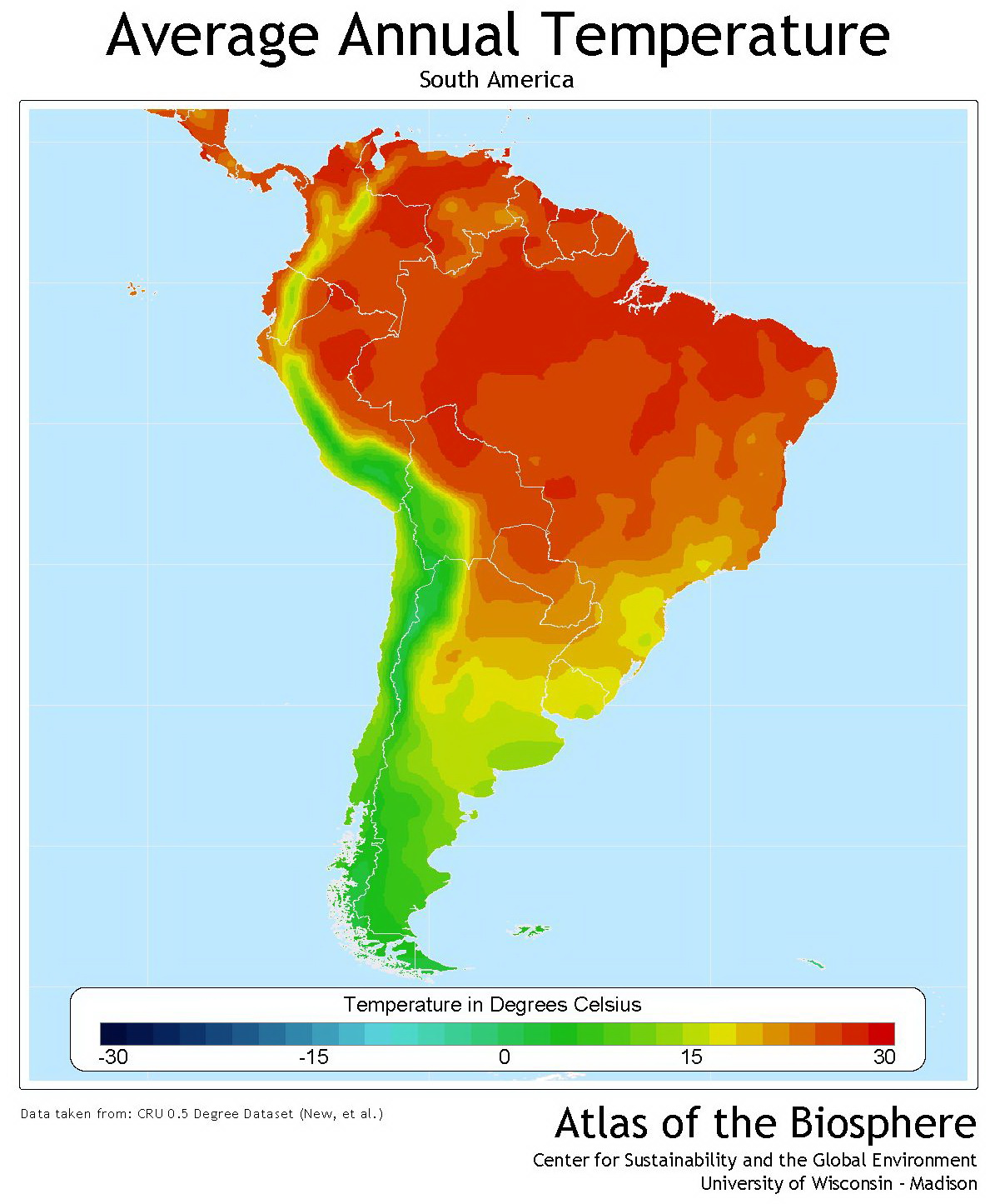 South America average annual temperature