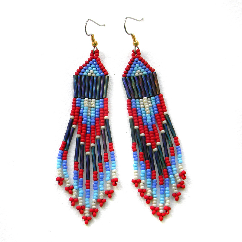 Long beaded earrings - dangle fringe earrings - seed bead jewelry