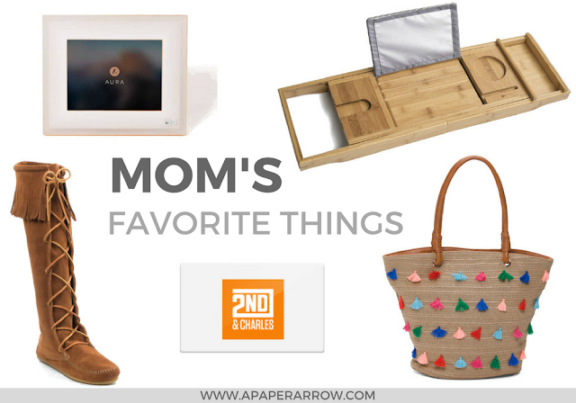 #momsfavoritethings, minnetonka, tassel tote, digital frame, Aura, book tray, gift card, mothers day gift ideas