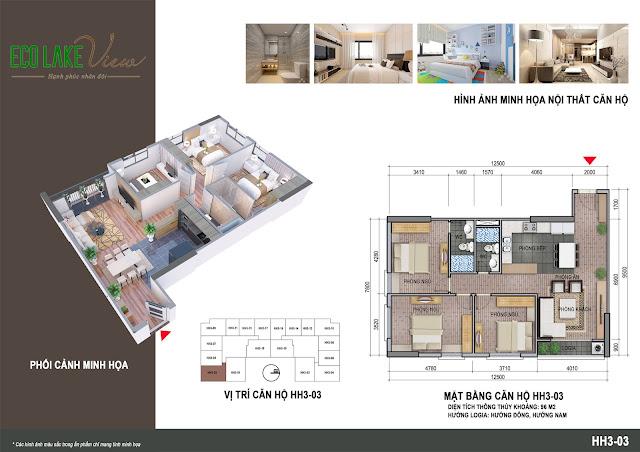 Thiết kế căn hộ số 03 tòa HH03