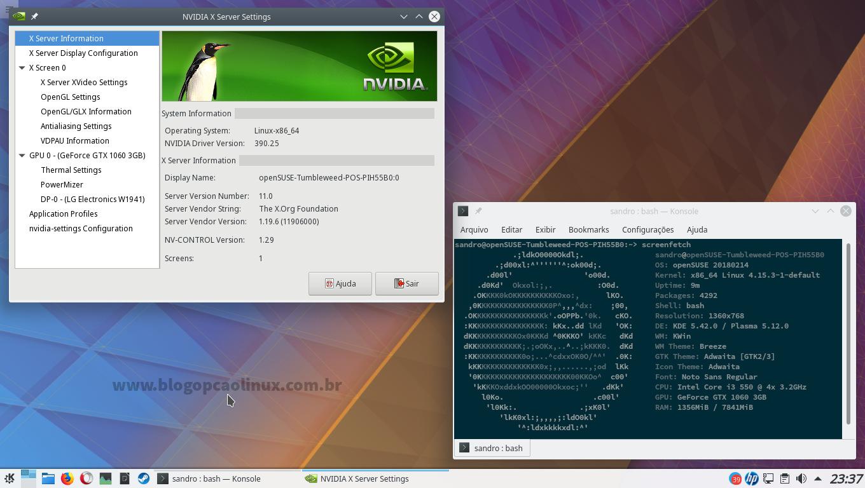 Painel de Controle da NVIDIA no openSUSE Tumbleweed