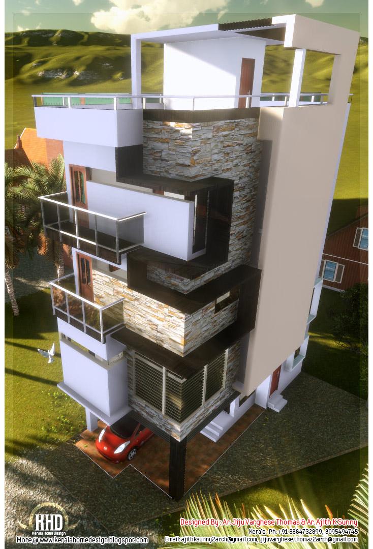 3 Floor Contemporary Narrow Home Design Kerala Home