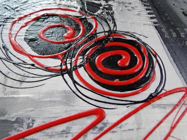 Tableau contemporain, peinture CELYM Gris, noir, blanc, rouge, or pour décoration intérieure