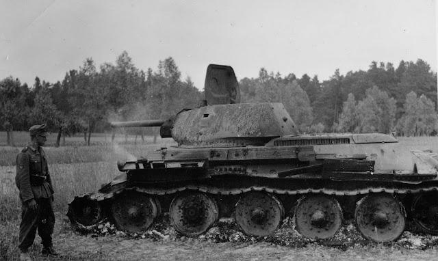 Soviet T-34 tank at Lviv, Ukraine 28 June 1941 worldwartwo.filminspector.com