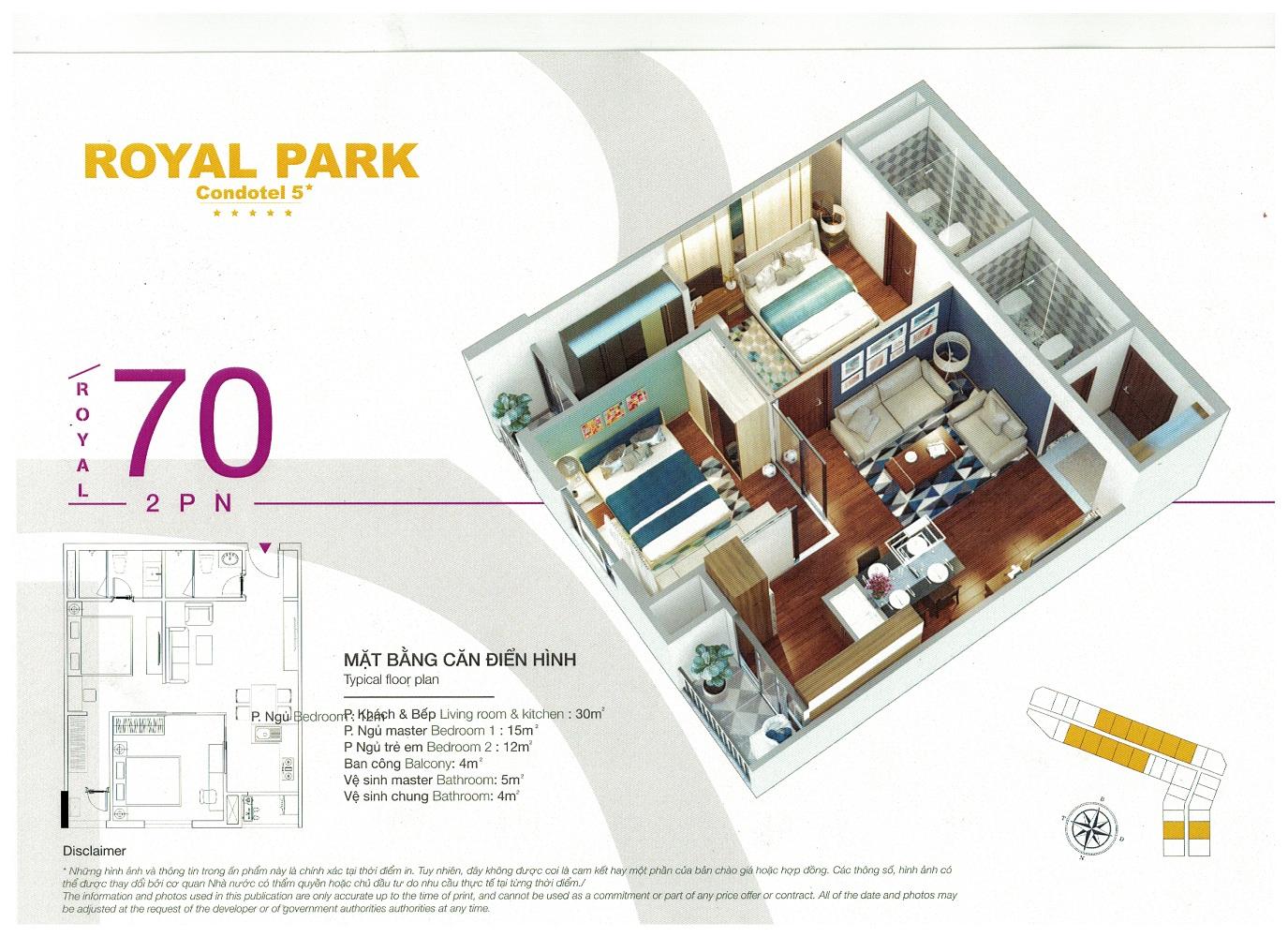 Thiết kế mặt bằng căn hộ khách sạn nghỉ dưỡng Royal Park Bắc Ninh 70m2