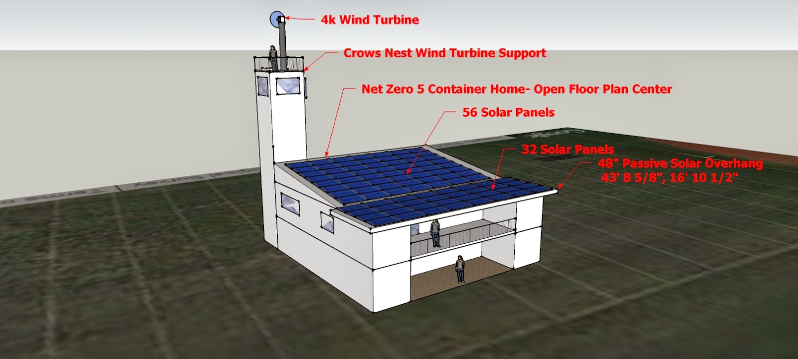 5 Container Open Floor Plan Net Zero Green Home Design by Scotty