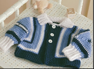 Crochet ribbed collar sweater for baby