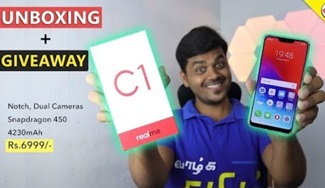 REALME C1 Unboxing & Hand-On Review ⚡ GIVEAWAY | Tamil Tech