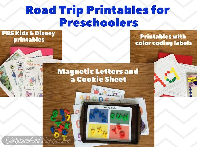 Road Trip Printables for Preschoolers | scriptureand.blogspot.com