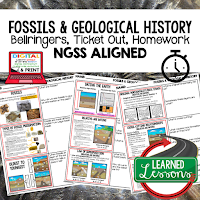 Fossils Worksheets, Earth Science NGSS Bellringers, Science Warm Ups, Science Homework, Science Ticket Out