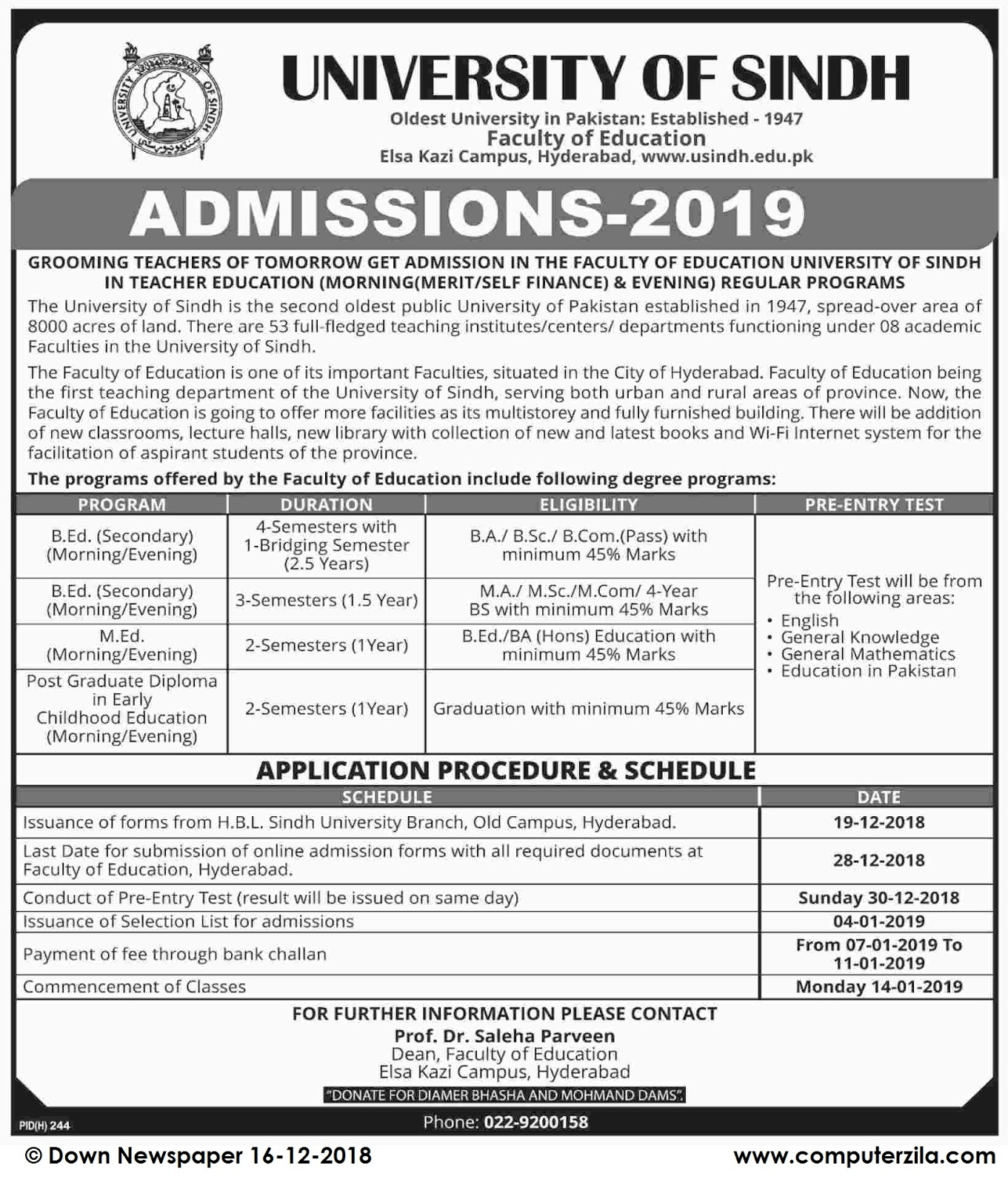 Admissions Open For Spring 2019 At USINDH Hyderabad Campus