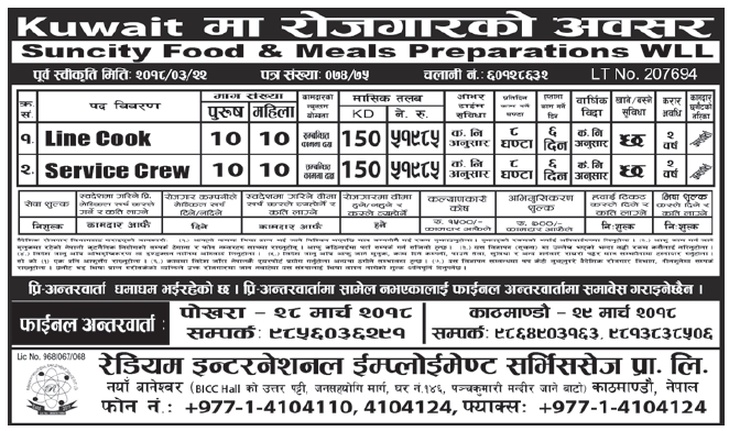 Jobs in Kuwait for Nepali, Salary Rs 51,985