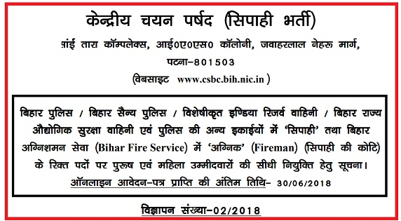 Bihar Police Constable Recruitment 2018