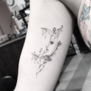 Attractive Small Moon Tattoo Design