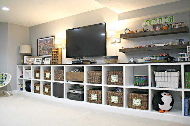 Built in cubbies for toy storage