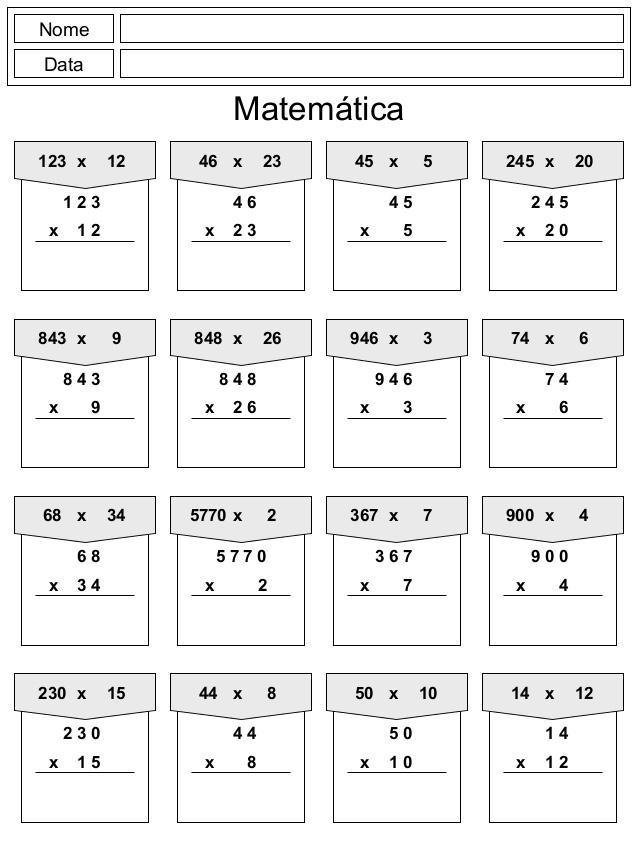 Contas de Multiplicar e Dividir.
