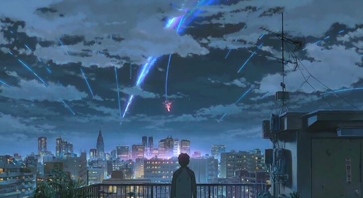 Taki watching the comet in Kimi no Na wa