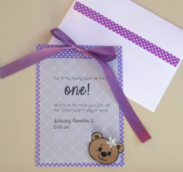 Purple Teddy Bear Invitations For A Girls First Birthday Party