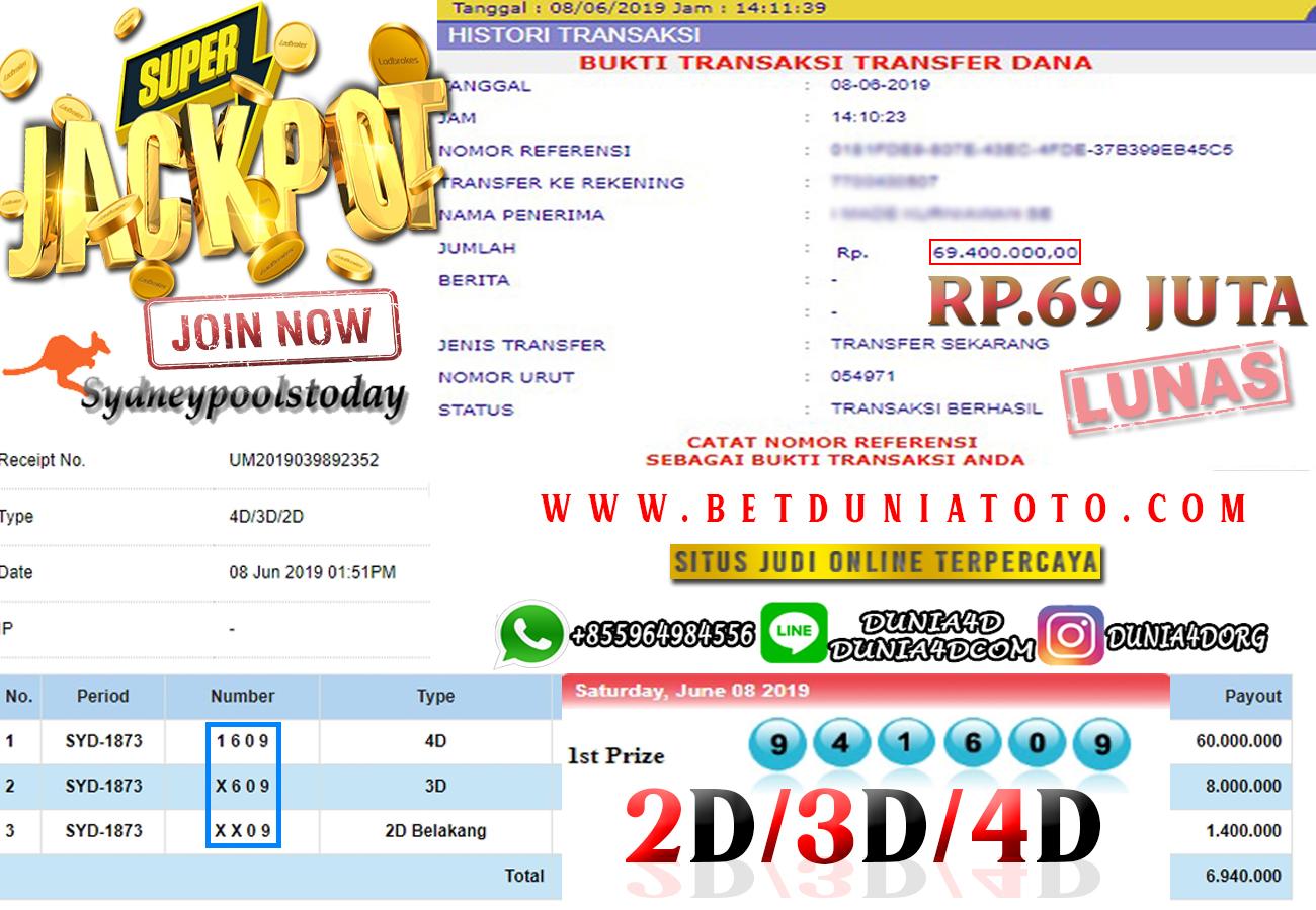 JACKPOT SYDNEY POOLS  HANYA DENGAN MODAL RP60 RIBU DOANK !!