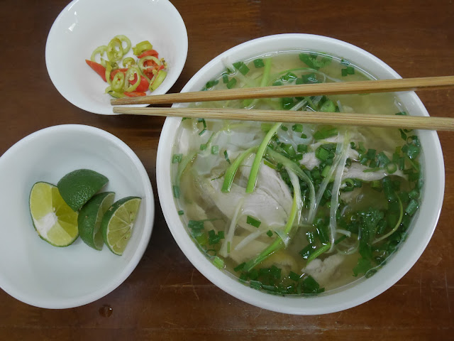 Delicious chicken pho or chicken noodle, Hanoi Old Quarter