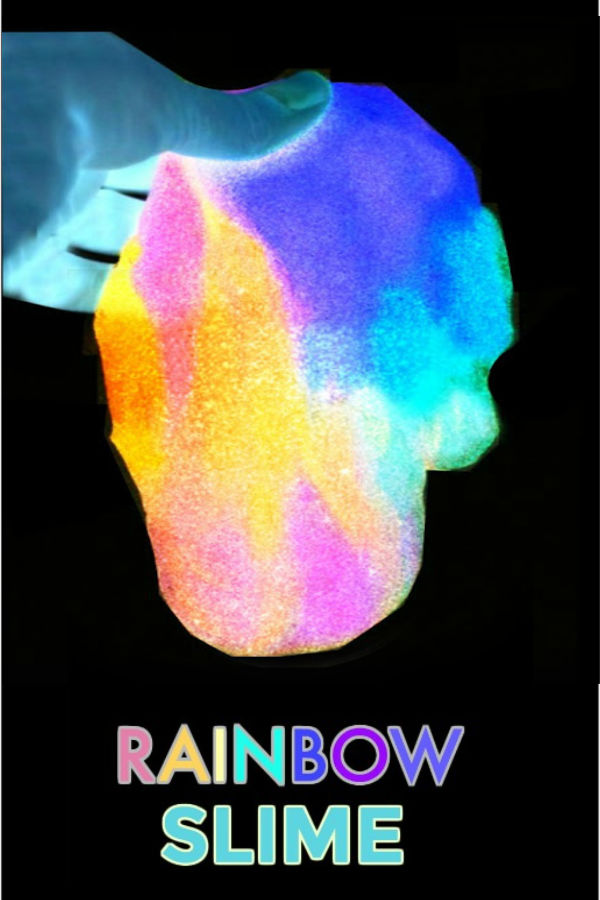 RAINBOW SLIME RECIPE: It glows-in-the-dark-SO COOL! #slime #slimerecipes #slimerecipesforkids #glowinthedarkslime #glowinthedarkpartyideas #glowingslime #rainbowslime #rainbowslimerecipe