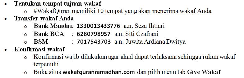 cara kontribusi pada wakaf Qur'an untuk pembayaran