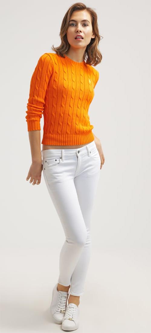 Jean Skinny taille basse femme blanc Polo Ralph Lauren