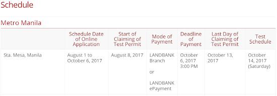 PUPCET Schedule for PUP Santa Mesa