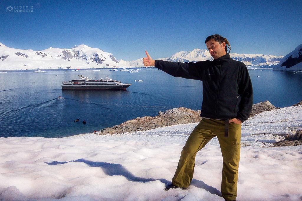 Paluch łapiący statek na stopa na Antarktydzie