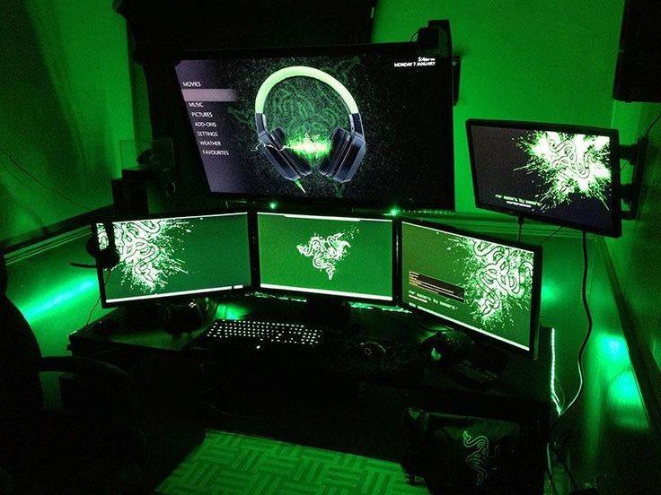 Razer Gaming Room Setup Ideas With Green Led Strip Setup