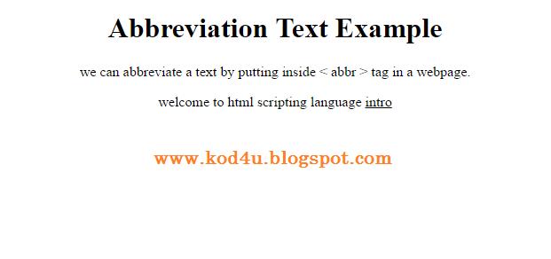 HTML Abbreviation Text Tag Example
