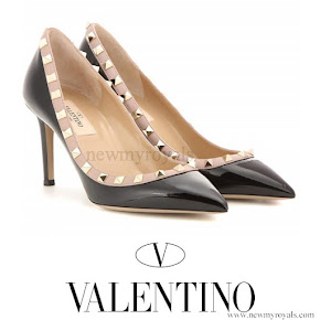 Princess Mary wears Valentino Rockstud patent leather pumps