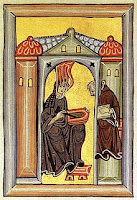 llumination from the Liber Scivias showing Hildegard receiving a vision and dictating to her scribe and secretary