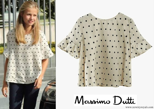 Crown Princess Leonor wore a polka dot blouse by Massimo Dutti