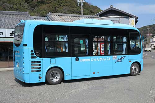 Junkan bus at Taiji Station, Wakayama.