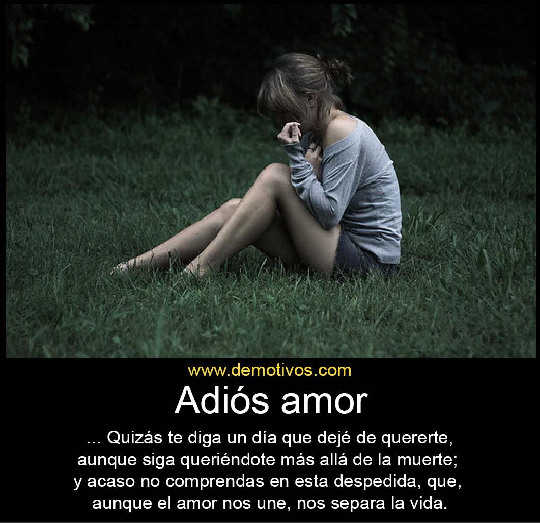 Adi³s amor Quizá te diga algºn da que deje de quererte aunque siga queriéndote mas allá de la muerte Aunque el amor nos une nos separa la vida