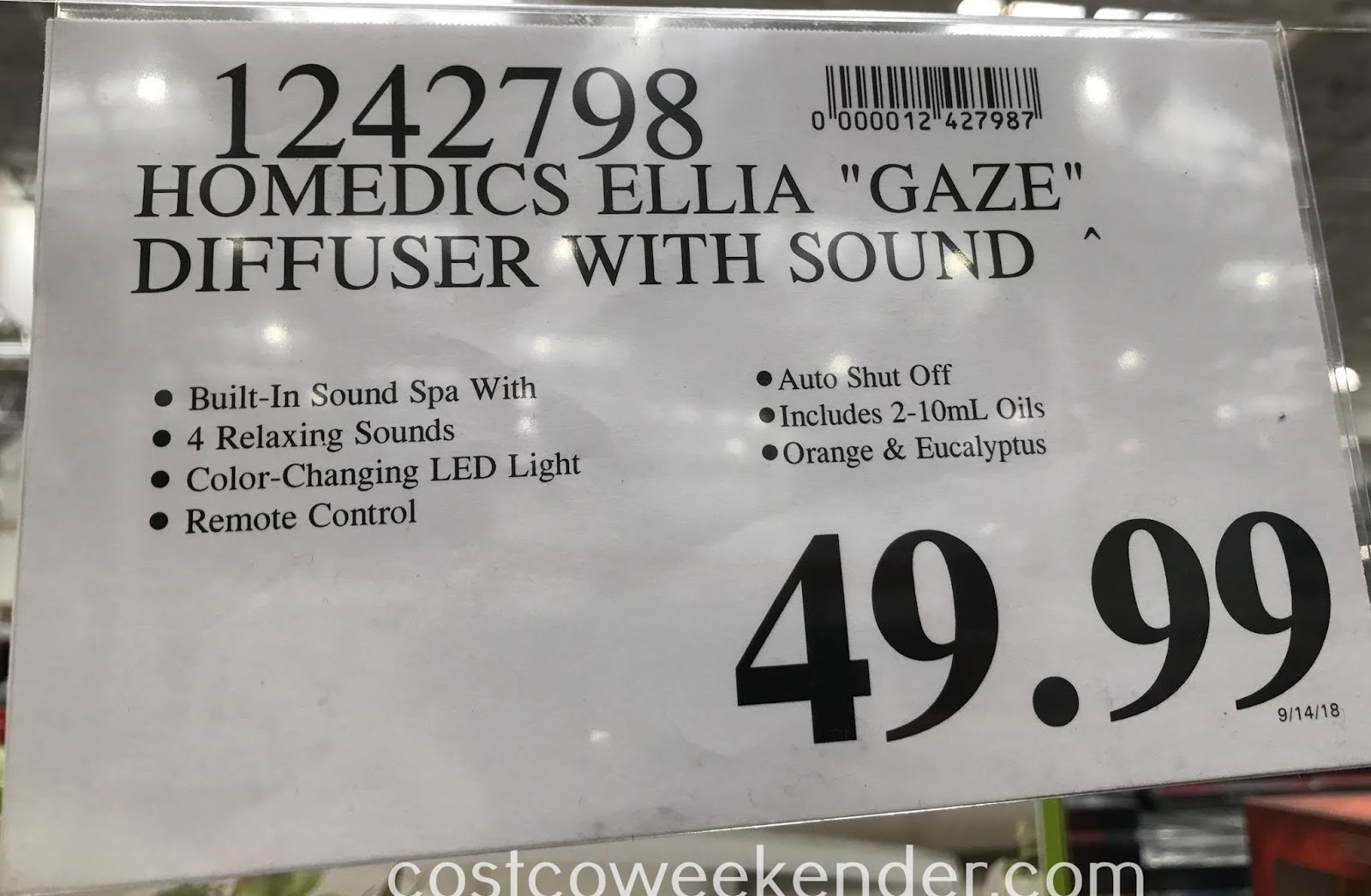 Deal for the HoMedics Ellia Gaze Aroma Diffuser at Costco