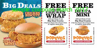 free Popeyes Chicken coupons for march 2017