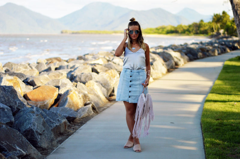slip cami styled with denim skirt and mules