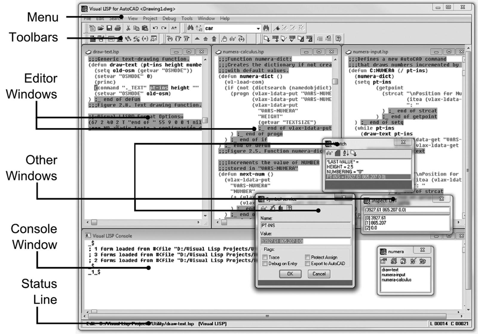 AutoCAD expert's Visual LISP: Chapters 3, 4 and 5  Using AutoLISP